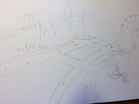 penciled in the first drops of paint