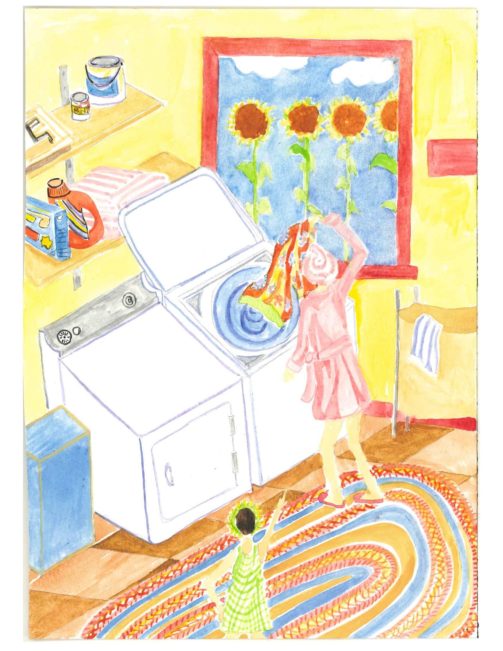 Green Queen doing laundry